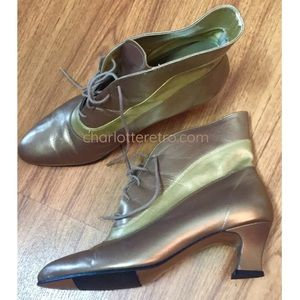 90s vtg Gold Leather Granny Witch Booties